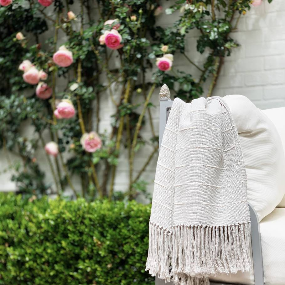 Pampa Handwoven Cotton Throw - Ice